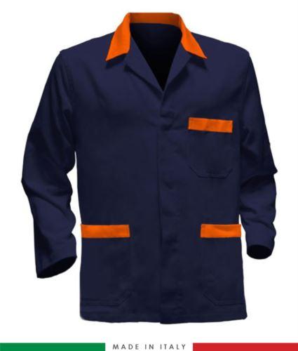 giacca da lavoro blu con inserti arancioni, tessuto poliestere e cotone