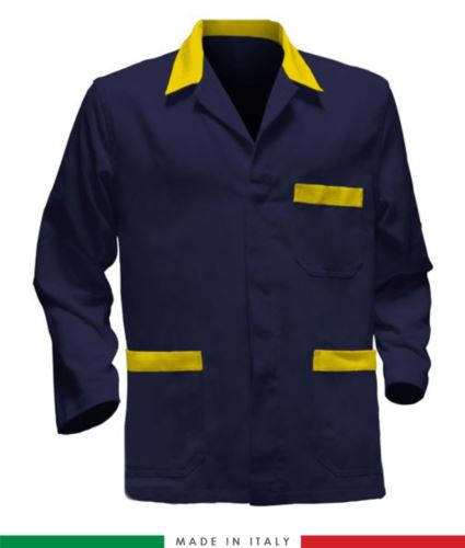 giacca da lavoro blu con inserti gialli, tessuto poliestere e cotone
