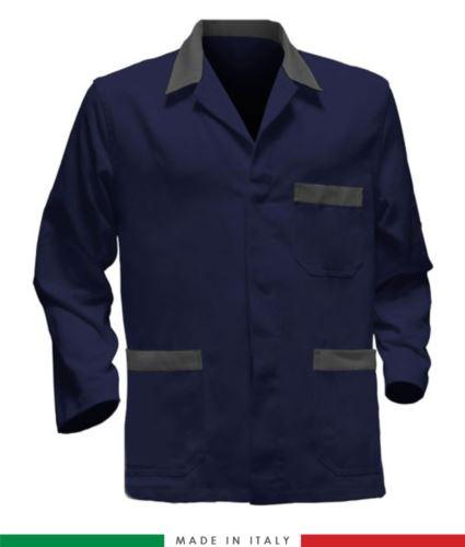 giacca da lavoro blu con inserti rossi, tessuto poliestere e cotone