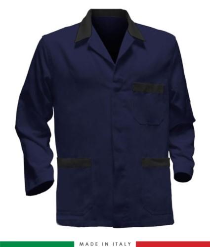 giacca da lavoro blu con inserti neri, tessuto poliestere e cotone
