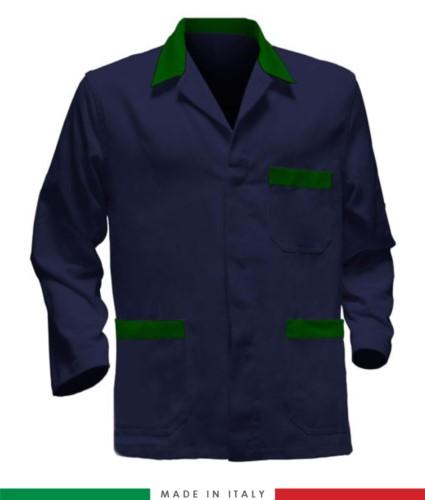 giacca da lavoro blu con inserti verdi, tessuto poliestere e cotone