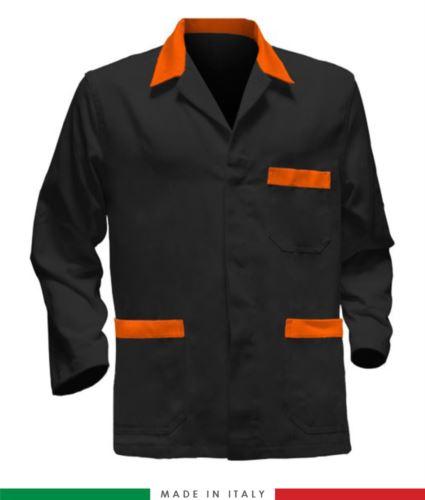giacca da lavoro nera con inserti arancioni, tessuto poliestere e cotone