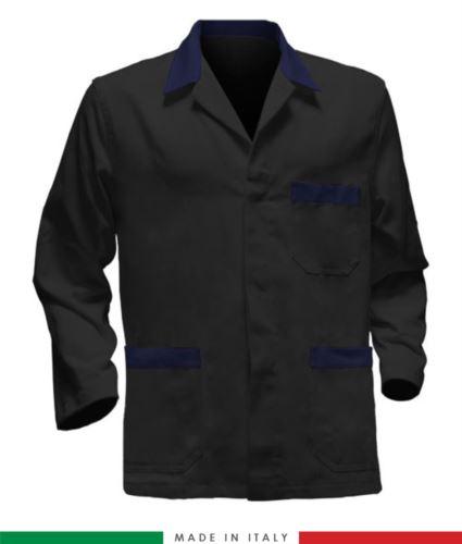giacca da lavoro nera con inserti blu, tessuto poliestere e cotone
