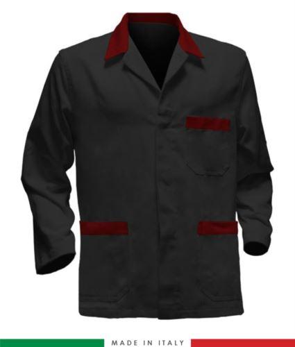giacca da lavoro nera con inserti rossi, tessuto poliestere e cotone
