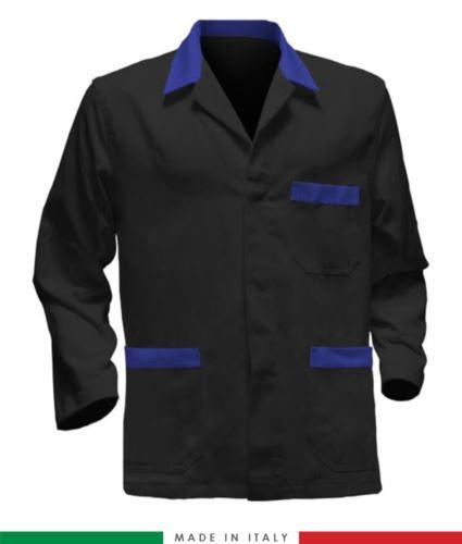 giacca da lavoro nera con inserti azzurri, tessuto poliestere e cotone