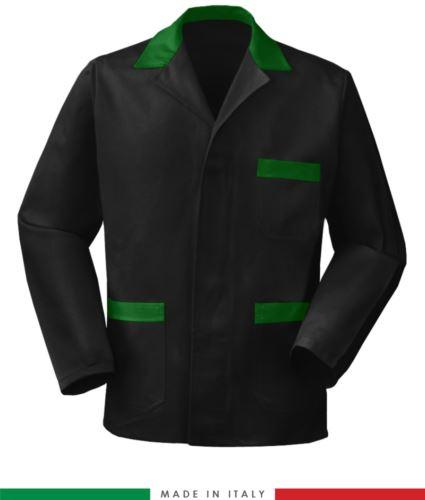 giacca da lavoro nera con inserti verdi, tessuto poliestere e cotone