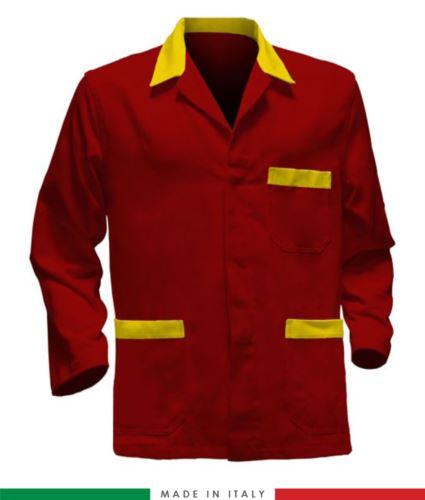 giacca da lavoro rossa con inserti gialli, made in Italy, 100% cotone massaua con due tasche