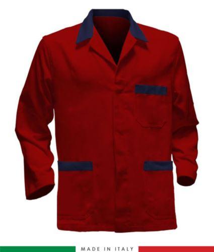 giacca da lavoro rossa con inserti blu, made in Italy, 100% cotone massaua con due tasche