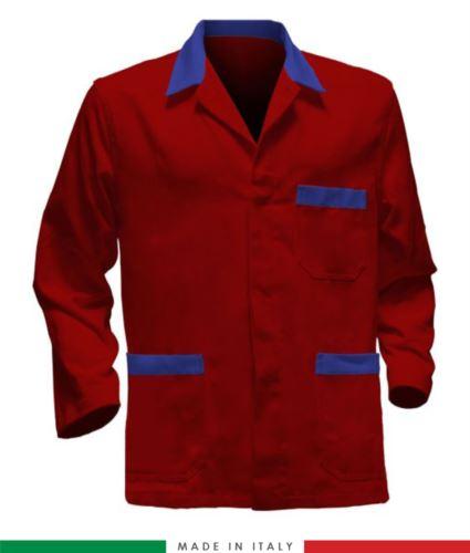 giacca da lavoro rossa con inserti azzurri, made in Italy, 100% cotone massaua con due tasche