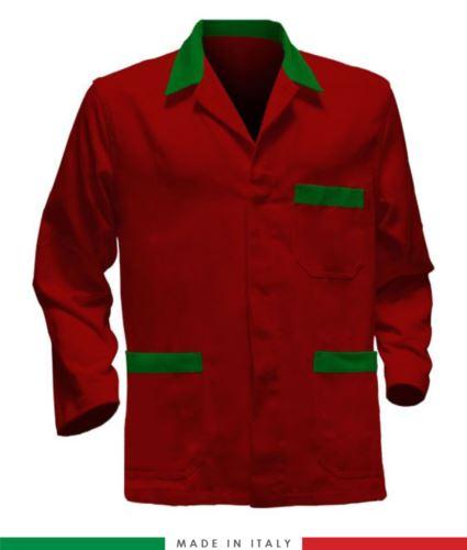 giacca da lavoro rossa con inserti verdi, made in Italy, 100% cotone massaua con due tasche