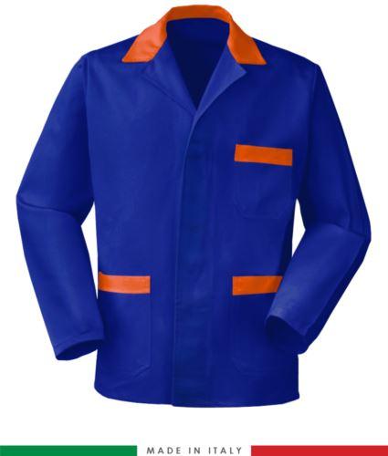 giacca da lavoro blu e arancio, made in Italy, tessuto poliestere e cotone con due tasche