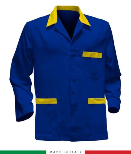 Giacca da lavoro azzurro royal con inserti gialli, tessuto poliestere e cotone