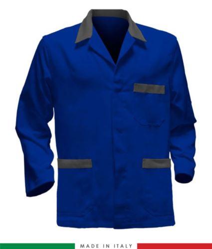 Giacca da lavoro azzurro royal con inserti grigi, tessuto poliestere e cotone