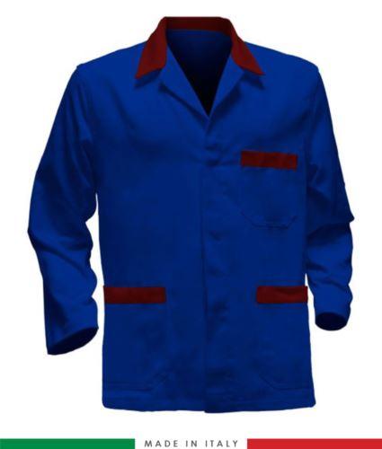 Giacca da lavoro azzurro royal con inserti rossi, tessuto poliestere e cotone