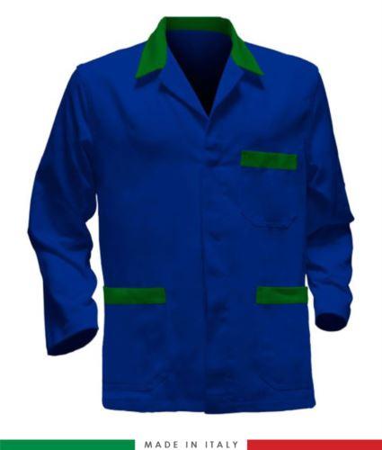 giacca da lavoro azzurro royal con inserti verdi, tessuto poliestere e cotone