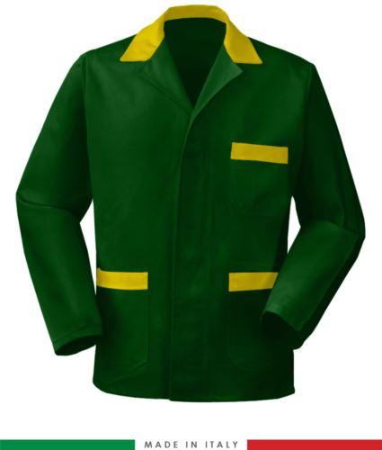 giacca da lavoro verde con inserti gialli made in Italy, 100% cotone massaua e due tasche