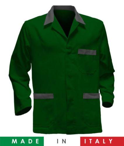 giacca da lavoro verdi con inserti grigi made in Italy, 100% cotone massaua e due tasche