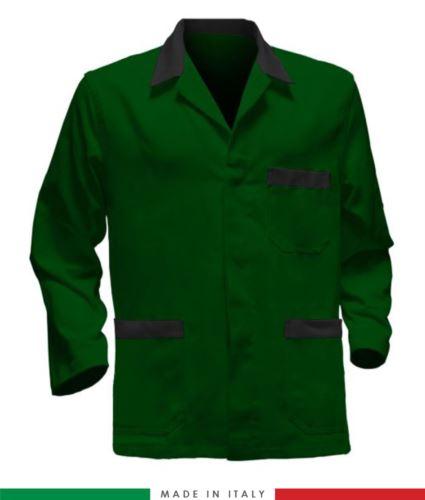 giacca da lavoro verde con inserti neri made in Italy, 100% cotone massaua e due tasche