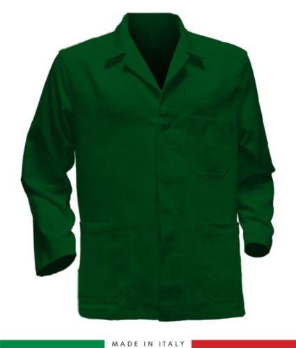giacca da lavoro verdi con inserti blu made in Italy, 100% cotone massaua e due tasche