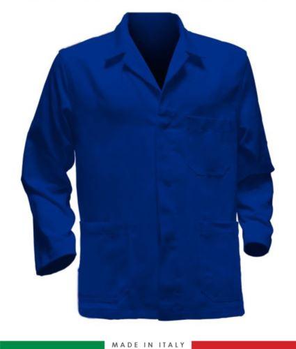 giacca da lavoro blu made in Italy, tessuto poliestere e cotone con due tasche