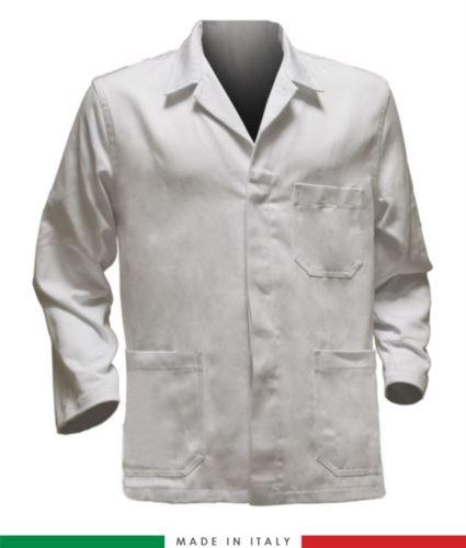giacca da lavoro bianco, tessuto poliestere e cotone
