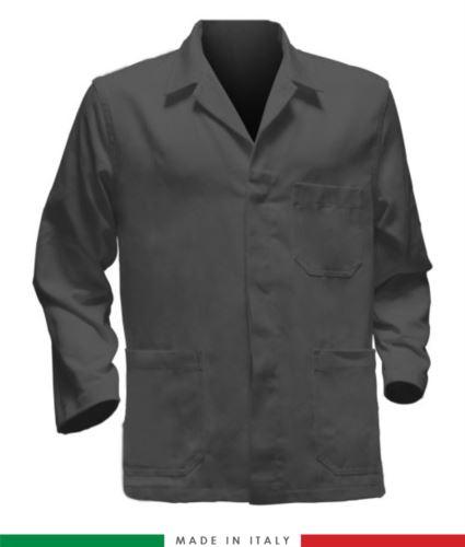 giacca da lavoro grigia, made in Italy, 100% cotone massaua con due tasche