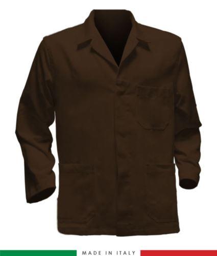 giacca da lavoro marroni, made in Italy, 100% cotone massaua con due tasche