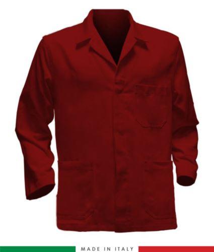 giacca da lavoro rossa, made in Italy, 100% cotone massaua con due tasche