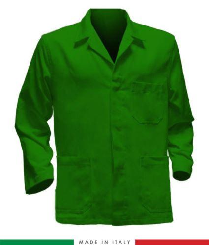 giacca da lavoro verdi con inserti rossi, tessuto poliestere e cotone