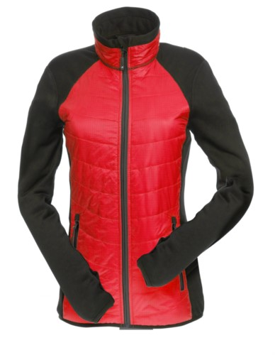 Giacca slim fit Donna, con materiale misto: pile e imbottitura primaloft, colletto alto rigido. Zip lunga frontale in contrasto. Colore: Rosso e Nero
