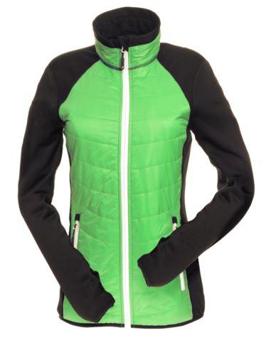Giacca slim fit Donna, con materiale misto: pile e imbottitura primaloft, colletto alto rigido. Zip lunga frontale in contrasto colore bianco. Colore: Verde e Nero