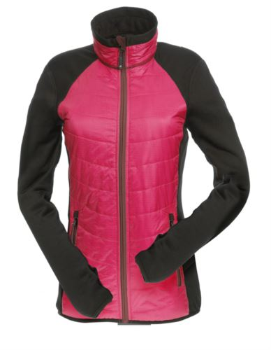 Giacca slim fit Donna, con materiale misto: pile e imbottitura primaloft, colletto alto rigido. Zip lunga frontale in contrasto. Colore: Berry e Nero