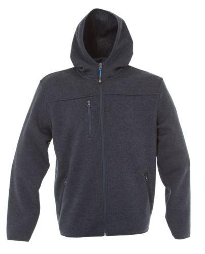 Pile con cappuccio zip lunga in knitted fleece con una tasca al petto e due laterali. Colore: Blu