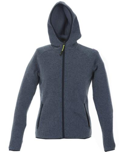 Pile donna con cappuccio zip lunga in knitted fleece. Colore Blu Chiaro