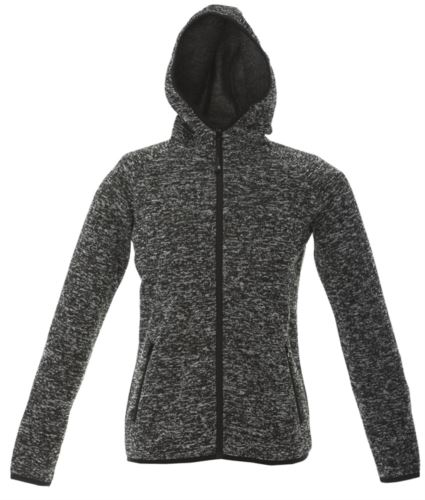 Pile donna con cappuccio zip lunga in knitted fleece. Colore Nero