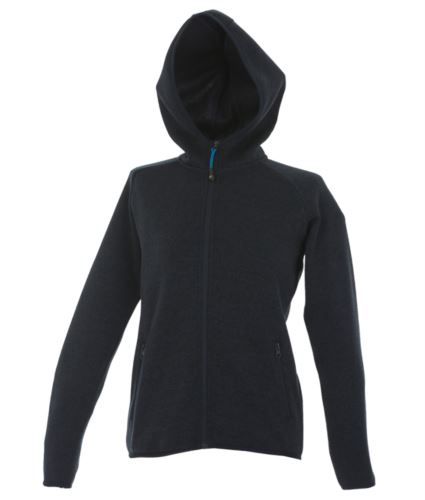 Pile donna con cappuccio zip lunga in knitted fleece. Colore Blu