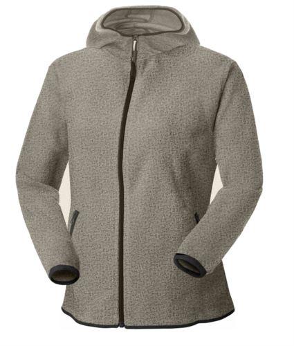 Pile donna con cappuccio zip lunga in knitted fleece. Colore Grigio