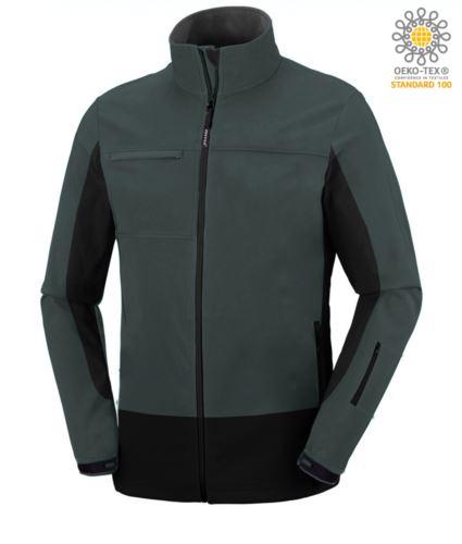 Giubbino softshell bicolore, waterproof, cappuccio a scomparsa. Colore verde e nero