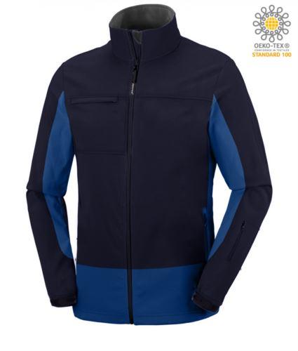 Giubbino softshell bicolore, waterproof, cappuccio a scomparsa. Colore blu navy e azzurro royal