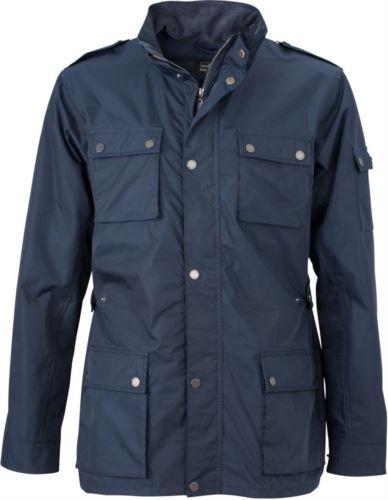 Giubbino uomo estivo con tessuto idrorepellente, con chiusura a zip e bottoni. Colore Blu Navy