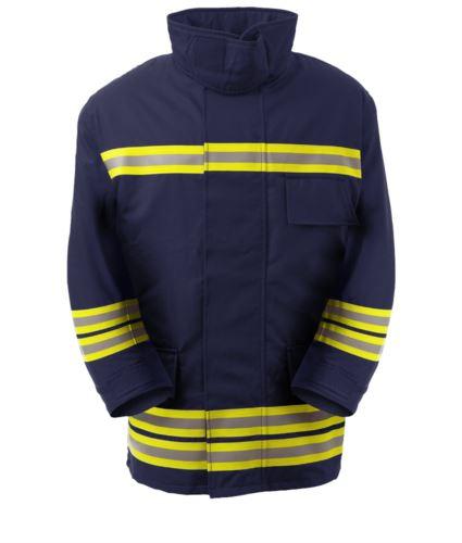 Giaccone antincendio, tasca porta radio, zip frontale, polsini in maglia, colletto adattabile al casco, colore blu navy. Certificato EN 469