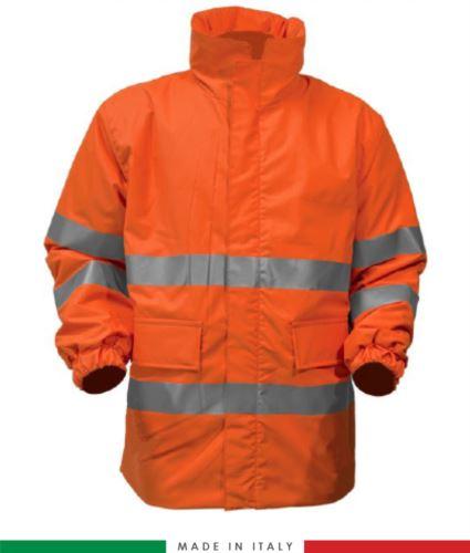 Giaccone ignifugo antiacido antistatico ad alta visibilità, chiusura anteriore con cerniera, maniche con elastico nel fondo, colore arancione. Certificato CE, EN 11612:2009, EN 1149-5, EN 13034, EN 342:2004, EN 11611, EN 471:2008, EN 343:2008