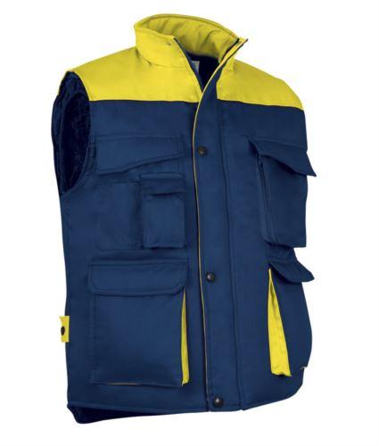 Gilet da lavoro multitasche in poliestere e cotone, imbottitura in poliestere. Colore blu navy/giallo