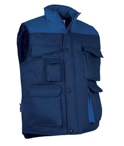 Gilet da lavoro multitasche in poliestere e cotone, imbottitura in poliestere. Colore blu navy/azzurro royal