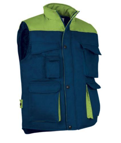 Gilet da lavoro multitasche in poliestere e cotone, imbottitura in poliestere. Colore blu navy/verde chiaro