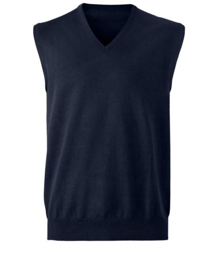 Gilet unisex con scollo a V, taglio classico, colore blu navy, tessuto cotone e acrilico. Vendita all'ingrosso di divise eleganti da lavoro.