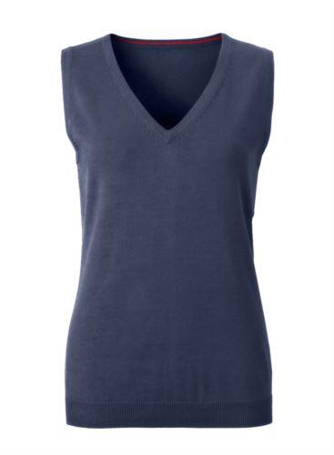 Gilet donna con scollo a V, senza maniche, colore blu navy, tessuto a maglia 100% cotone. Contattaci per un preventivo gratuito.