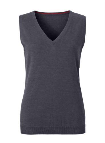 Gilet donna con scollo a V, senza maniche, colore antracite melange, tessuto a maglia 100% cotone. Contattaci per un preventivo gratuito.