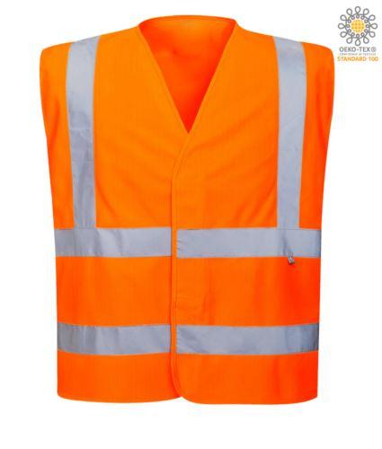 Gilet ignifugo antistatico ad alta visibilità, chiuso con velcro, doppia banda rifrangente sulla vita, certificata UNI EN 20471:2013, EN 1149-5, UNI EN ISO 14116:2008, colore arancione