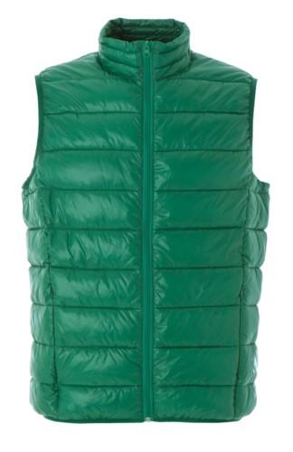 Gilet imbottito in nylon lucido impermeabile colore verde con fodera in poliestere